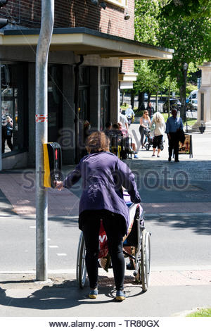 Sunny day image of a woman with a wheelchair waiting at the lights in Dorchester, Dorset, England, UK - Stock Photo