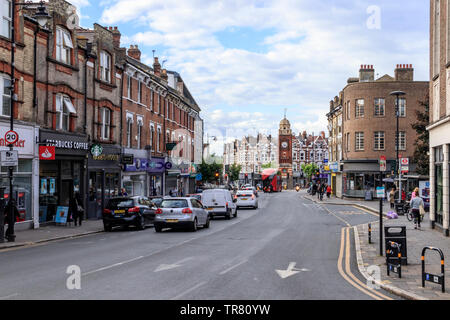 Crouch End Broadway, looking north, the clock tower in the distance, London, UK - Stock Photo
