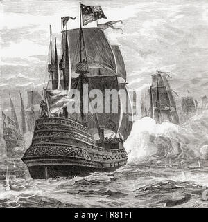 A 19th century ship of the line with three running gun batteries from stern to prow.  From La Ilustracion Iberica, published 1884. - Stock Photo