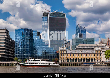 20 Fenchurch Street 'Walkie Talkie' building dominating skyline with Old Billingsgate and Northern & Shell buildings on The River Thames London EC3 UK - Stock Photo