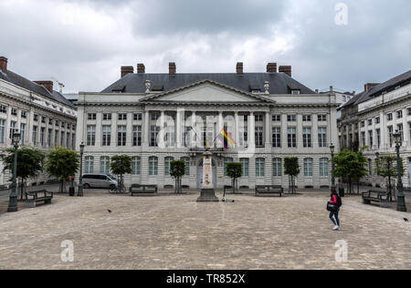 Façades of political buildings of the Flemish Government,Place des Martyrs brussels, Brussels old town - Stock Photo
