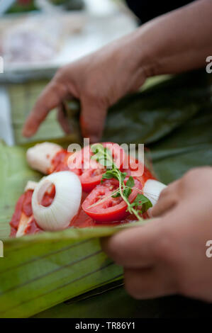 Making pollo pibil La Finca Puc, Muna, Yucatan, Mexico - Stock Photo