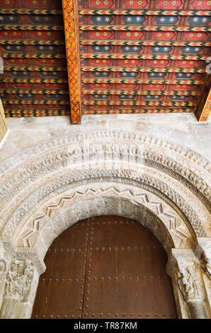 Tudela, Navarre, Spain - February, 13th, 2019 : South gate or Puerta de la Virgen of the Cathedral of Saint Mary of Tudela. Built in Romanesque style, - Stock Photo