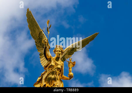 Angel of peace statue called Friedensengel in Munich, Bavaria - Stock Photo