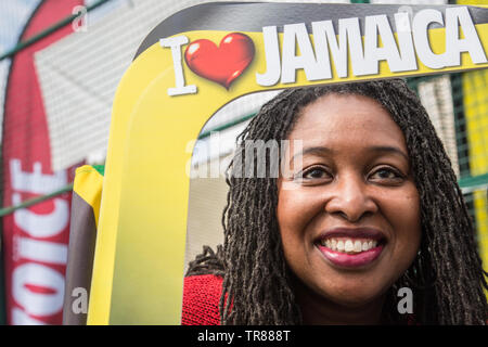 London UK 30th May 2019 Dawn Petula Butler  (MP) for Brent Central welcomes Jamaica Women,s National football team in Bridgestone Arena in Brent ahead  of the Women,s World Cup in Paris. - Stock Photo