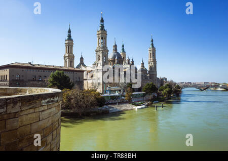 Zaragoza, Aragon, Spain : Basilica of Our Lady of the Pillar by the river Ebro. It is reputed to be the first church dedicated to Mary in history. - Stock Photo