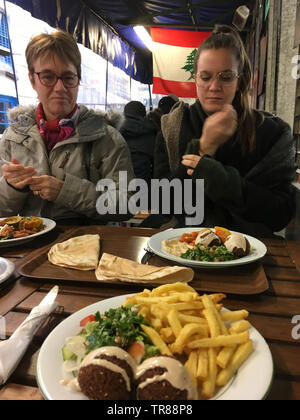 Lebanese restaurant, Marché des Enfants Rouges, Paris, France - Stock Photo