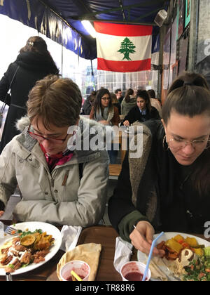 Lebanese restaurant, Marché des Enfants Rouges, Paris, France - Stock Photo