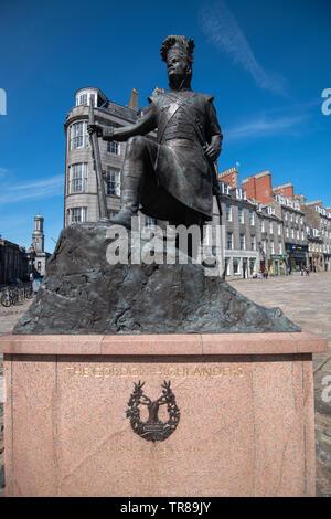 Gordon Highlander Memorial, Castlegate, Aberdeen, Scotland, UK - Stock Photo