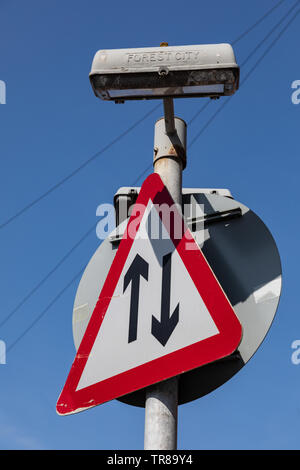 A triangular street sign indicating two traffic in the town centre of Widnes April 2019 - Stock Photo