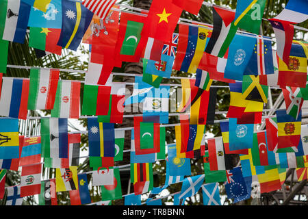 World flags,little flags of different countries, small flags of different countries stretched between palm trees - Stock Photo
