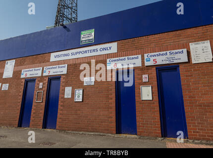 entrance for visiting away supporters for the Cowshed Stand at Tranmere Rovers Wirral April 2019 - Stock Photo