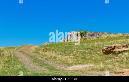 Harrismith, South Africa - October 18 2012: Rural Mountain scene at Basotho Cultural Village - Stock Photo