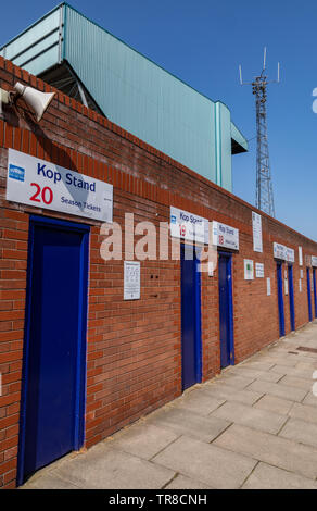 turnstile entrance for  the Kop Stand at Tranmere Rovers Wirral April 2019 - Stock Photo