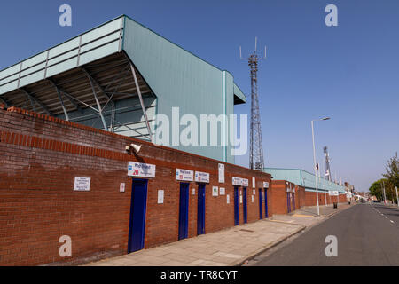 Side entrance for  the Kop Stand at Tranmere Rovers Wirral April 2019 - Stock Photo