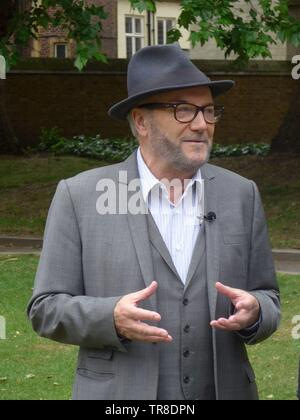 George Galloway in Old Place Yard, Westminster 30th May 2019 discussing Alistair Campbell's expulsion from the Labour Party, among other things. - Stock Photo
