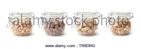 Nuts in the glass jar , collection, clipping path - Stock Photo