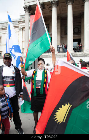 London, UK. 30th May 2019. People from Biafra in diaspora in the UK have come together for the yearly Biafra Remembrance Day on Trafalgar Square, London, UK, commemorating the secession war of 1967 and the civilians attacked, murdered and starved, including many children, during the crisis and highlighting the recent troubles in their land. Credit: Joe Kuis /Alamy - Stock Photo