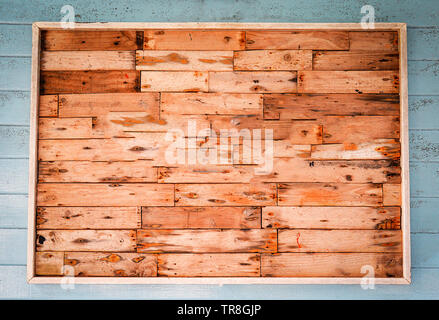 wooden square frame on old wall blank background - Stock Photo