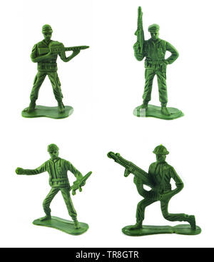 Set of Miniature toy soldier isolated on white background - Stock Photo