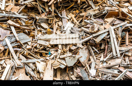Wooden pallets and scrap wood for recycling Stock Photo ...