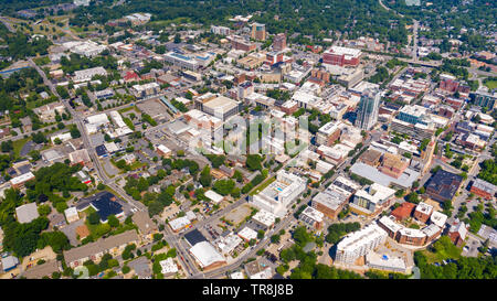 Aerial view of Downtown Asheville, NC, USA - Stock Photo