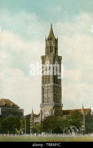 heritage architecture-Rajabai Tower University of Mumbai campus, Mumbai, Maharashtra, India, Southeast Asia. - Stock Photo