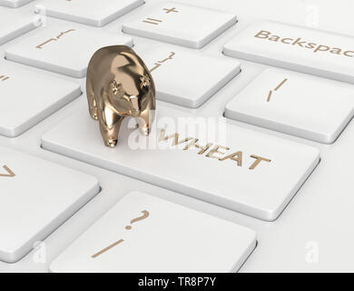 3d render of keyboard with wheat key and bear. Stock bearish market of wheat - Stock Photo