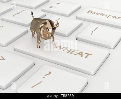 3d render of keyboard with wheat key and bull. Stock bullish market of wheat - Stock Photo