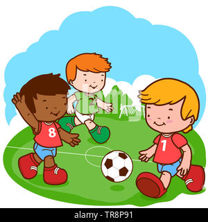 Illustration of three little boys play soccer. - Stock Photo
