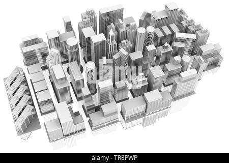 3D illustration. City Houses and skyscrapers on white background with reflection. - Stock Photo