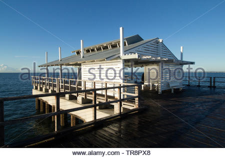 Moreton Bay Region, Queensland/ Australia- May, 25, 2019: The shelter shed at the end of Woody Point Jetty during the early morning. - Stock Photo