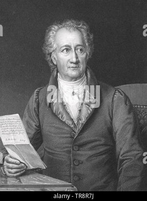 JOHANN WOLFGANG von GOETHE (1749-1832) German novelist, poet and botanist in 1828 - Stock Photo