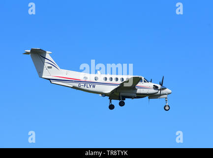 A Beechcraft Model 200 Super King Air on approach to RAF Lossiemouth airfield on the North East coast of Scotland. UK - Stock Photo