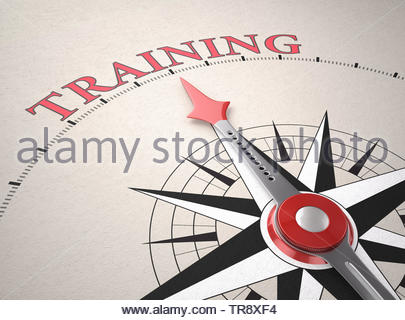 Direction of Training, Compass concept, 3d render - Stock Photo