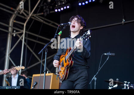 Warrington, UK. 26th May 2019. Bono's son Elijah Hewson performs with his band Inhaler at the Neighbourhood Weekender in Victoria Park,  Warrington 26/05/2019 - Stock Photo