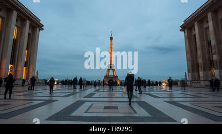 View of Eiffel Tower from Jardins du Trocadero in Paris, France. Eiffel Tower is one of the most landmarks of Paris. Travel. - Stock Photo