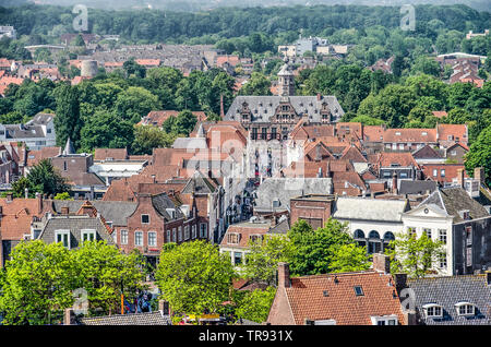 Middelburg, The Netherlands, May 30, 2019: aerial view of Langeviele street and the monumental 17th century Kloveniersdoelen building - Stock Photo