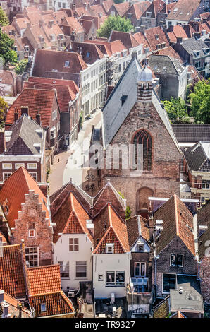 Middelburg, The Netherlands, May 30, 2019: aerial view of a part of the old town, with Gasthuiskerk church, Nieuwstraat and many historic houses - Stock Photo