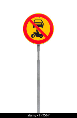 Passage of vehicles and motorcycles is prohibited. European round traffic sign  on metal pole isolated on white background - Stock Photo