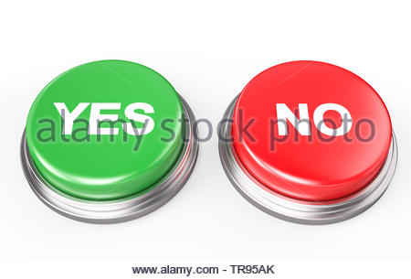 Yes No Button , Isolated on white , 3d render - Stock Photo