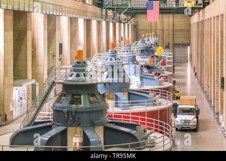 HOOVER DAM, ARIZONA - MAY 12, 2019: Generators of the Hoover Dam Power Plant. The structure was completed in 1933 amidst the Great Depression. - Stock Photo