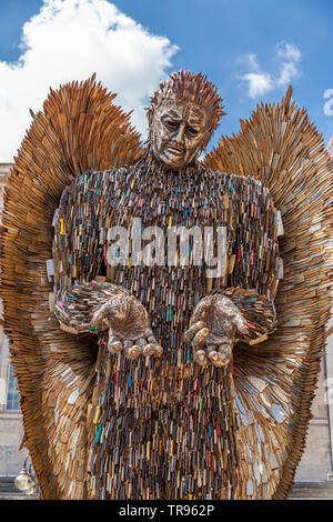 The Knife Angel in Victoria Square, Birmingham, England. - Stock Photo