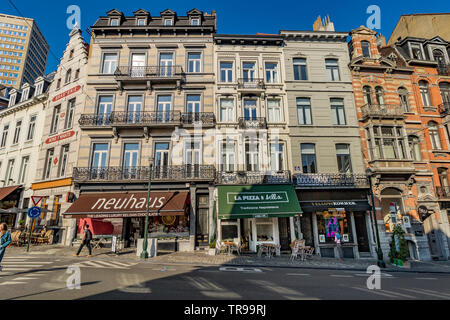 Shops and buildings along Rue Lebeau ,Brussels,Belgium - Stock Photo