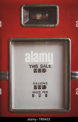 Old fuel dispenser - gasoline pump counter display - Stock Photo