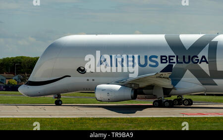 Airbus A330-743L Beluga XL2, F-WBXS at Hawarden Airport positioning for take off - Stock Photo