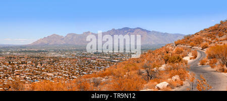 View of Tucson AZ in various directions from atop of 'A' Mountain Sentinel Peak Park - Stock Photo