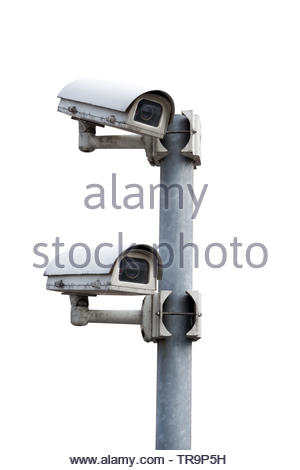 Security Cameras with clipping path , white background - Stock Photo
