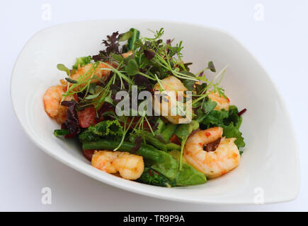 poach prawns and green leaves salad - Stock Photo