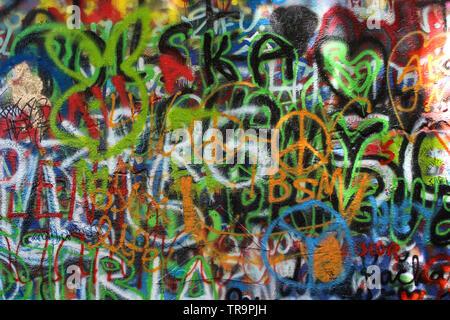 John Lennon Wall in Prague, Czech Republic - Stock Photo